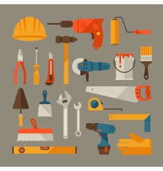 Repair and construction working tools icon set vector image