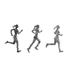 Woman athletes on running race on white background vector image