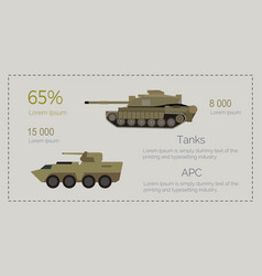 armored tank forces flat style infographics vector image vector image
