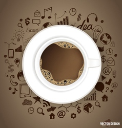 A cup of coffee with application icon vector image vector image