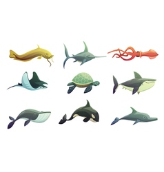Fish And Marine Animals Cartoon Set vector image