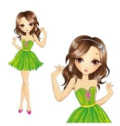 Girl In Green Dress Dancing vector image
