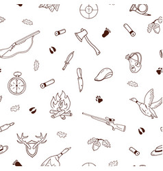 hunting seamless pattern in doodle style vector image