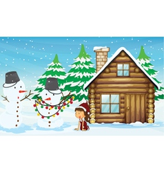 snowman girl and house vector image