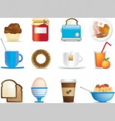 breakfast icons vector image
