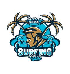 colorful logo emblem surfer on a background of vector image