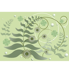 Curved stems with leaves and flowers vector image
