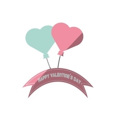 happy valentines day card blue and pink heart vector image vector image