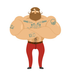 hipster beard and tattoos mustachioed brutal man vector image vector image