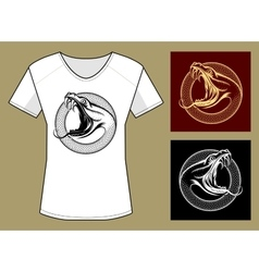 Snake Head Print Template vector image