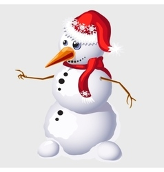 Snowman with carrot in red cap and scarf vector image vector image