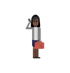 african woman with bag talking on smartphone vector image
