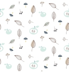 Apples and leaves seamless pattern vector image