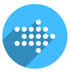 Arrow sign led digital display circle icon vector