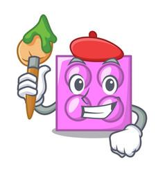 Artist toy brick character cartoon vector