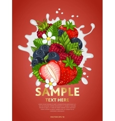 Berry mix on milk splash vector