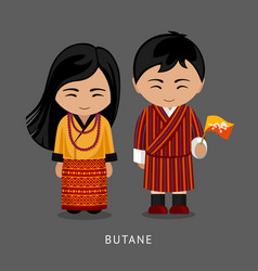 Bhutanese in national dress with a flag vector