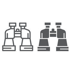 binoculars line and glyph icon watch and vision vector image
