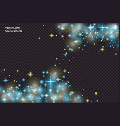 blue sparks and stars glitter special light effect vector image