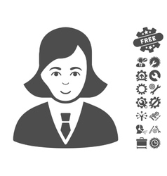 Business Lady Icon With Tools Bonus vector
