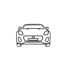 car front view hand drawn outline doodle icon vector image