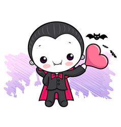 Cartoon dracula character is holding a heart vector