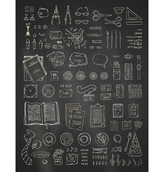 Chalk scene creator set on blackboard background vector