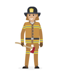Cheerful firefighter in protective suit with ax vector
