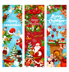 christmas and new year holiday greeting banner vector image