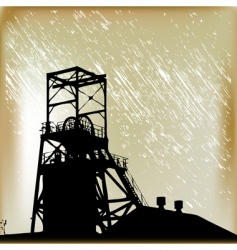 Coal mine in the rain vector