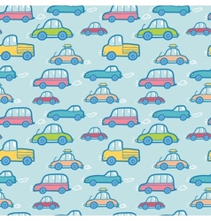 Colorful cartoon cars seamless pattern background vector image