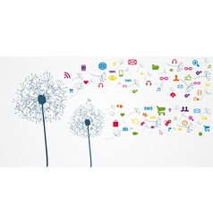 Colorful social network flower vector