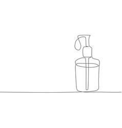 coronavirus hand gel one line drawing vector image