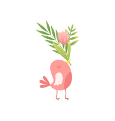 Cute bird holding bouquet of pink tulip flowers in vector