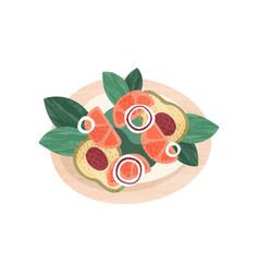 delicious salad with fresh vegetables healthy vector image