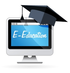 Distance learning - computer and mortarboard vector