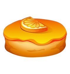 Doughnut with orange frosting vector