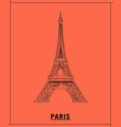 eiffel towerhand drawn sketch vector image