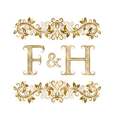 f and h vintage initials logo symbol vector image