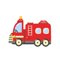 Flat firetruck fire vehicle icon vector