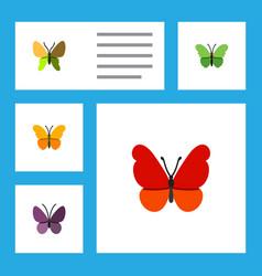 Flat monarch set of milkweed beauty fly vector