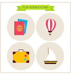 Flat Voyage Website Icons Set vector image