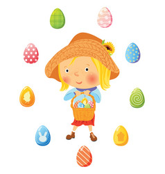 Girl with basket full of eggs for easter vector