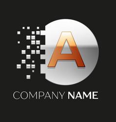 Golden letter a logo symbol in silver pixel circle vector