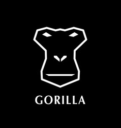 gorilla head logo element on black background vector image