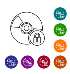 Grey cd or dvd disk with closed padlock line icon vector