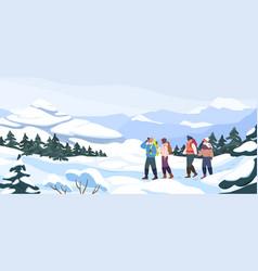 Group cartoon backpacker winter hiking at vector