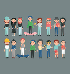 Group young people with accessories urban style vector