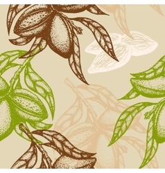 Hand drawn Almond Seamless pattern Branch of vector image