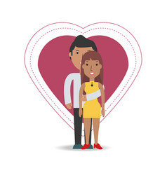 Happy couple lover inside heart design vector